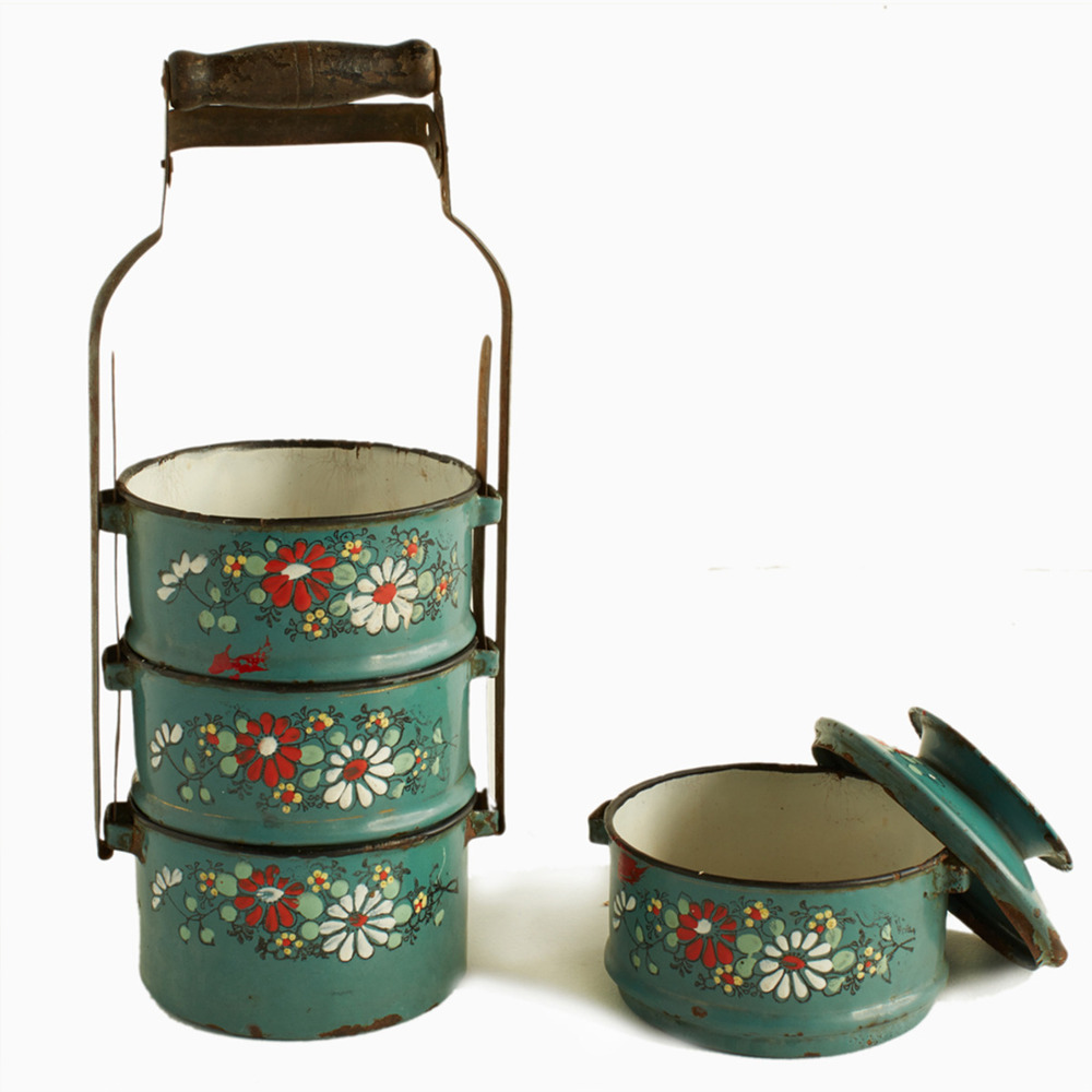 Tiffin Carrier Teal Embossed Beautiful Enamelwork