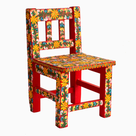 Red Bouquet Mexican Folk Art Chair