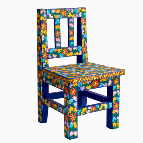Blue Bouquet Mexican Folk Art Chair
