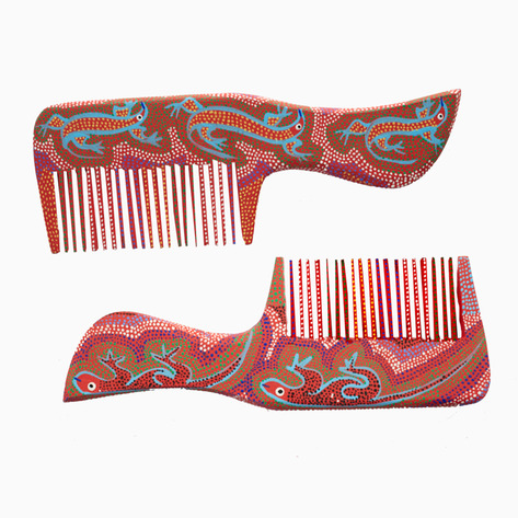 Red Lizard Mexican Folk Art Combs