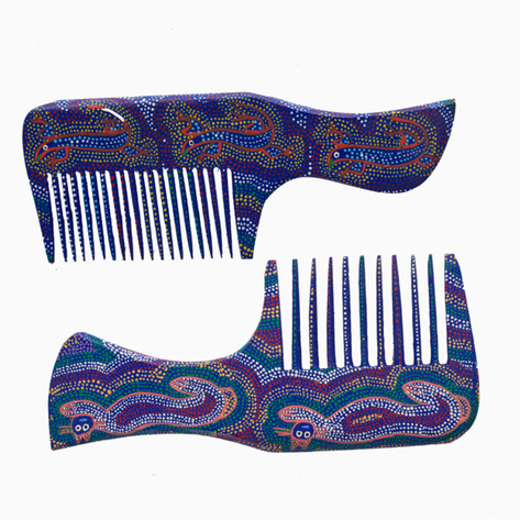 Blue Animal Mexican Folk Art Combs