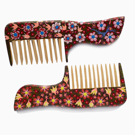 Black Blossom Mexican Folk Art Combs