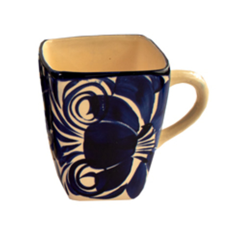 Blue & White Hidalgo Ceramic Square Mugs
