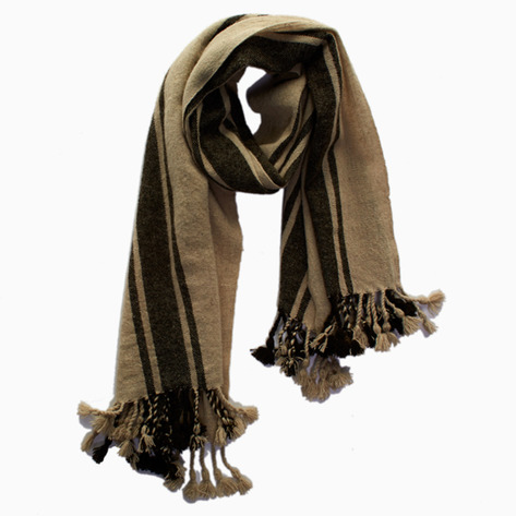 Brown Striped Wool scarf