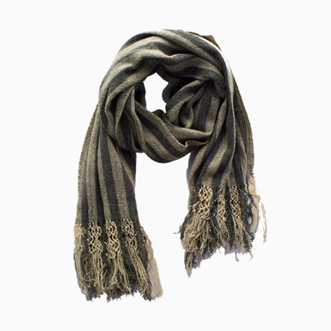 Gray Striped Wool scarf