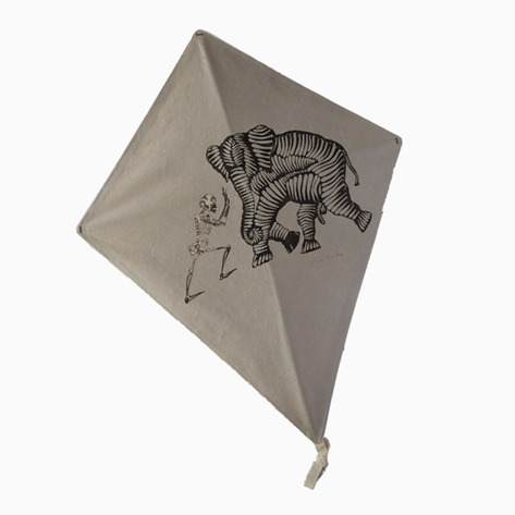 Gray Elephant vs. Skeleton Signed Francisco Toledo Art Kite