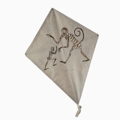 Monkey vs. Skeleton Signed Francisco Toledo Art Kite