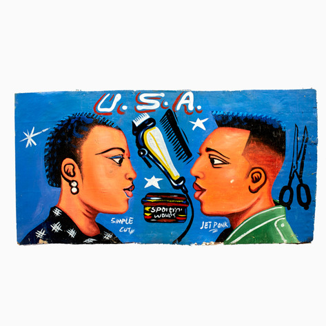 "Blue ""USA"" Hand-Painted Barbershop Sign"