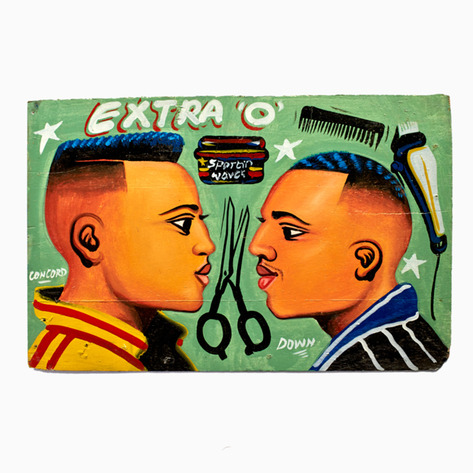 "Light Green ""Extra O"" Hand-Painted Barbershop Sign"