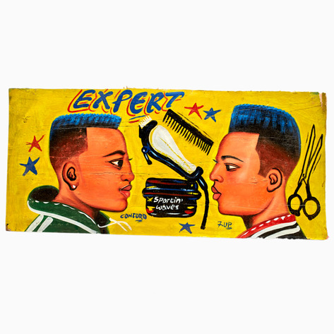 "Yellow ""Expert"" Hand-Painted Barbershop Sign"