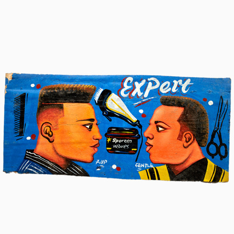 "Blue ""Expert"" Hand-Painted Barbershop Sign"