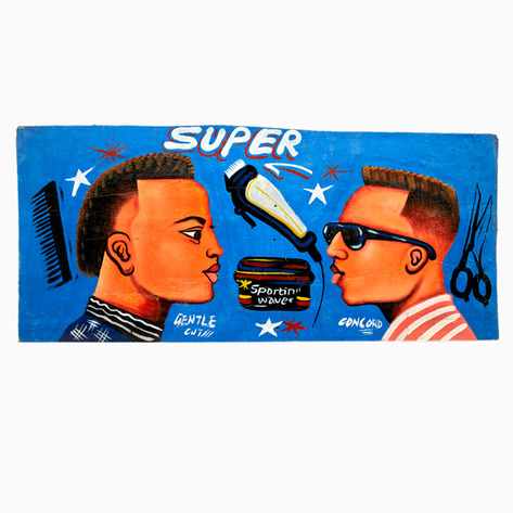 "Blue ""Super"" Hand-Painted Barbershop Sign"