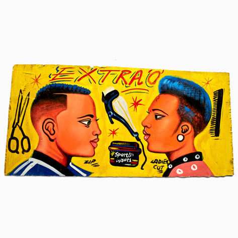 "Yellow ""Extra O"" Hand-Painted Barbershop Sign"