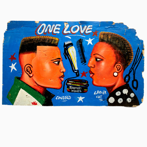 "Blue ""One Love"" Hand-Painted Barbershop Sign"