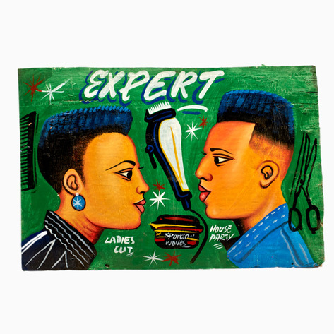 "Green ""Expert"" Hand-Painted Barbershop Sign"