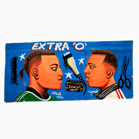 "Dark Blue ""Extra O"" Hand-Painted Barbershop Sign"