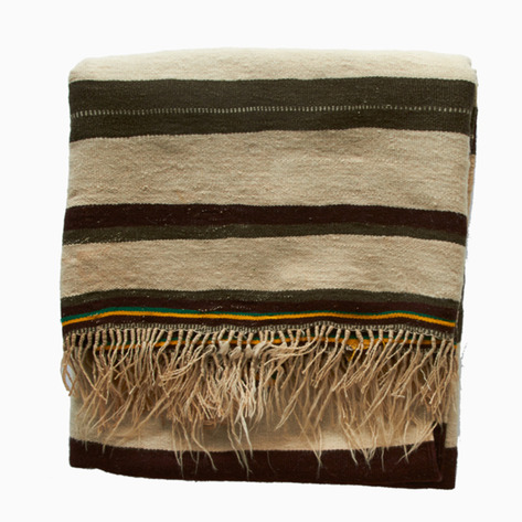 'Ouirgane Fields' Antique Striped Berber Blanket
