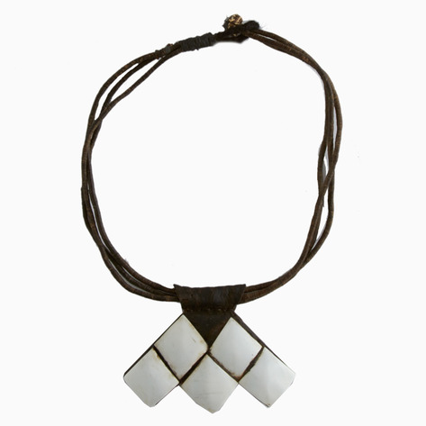 White Shell and Leather Tuareg Necklace