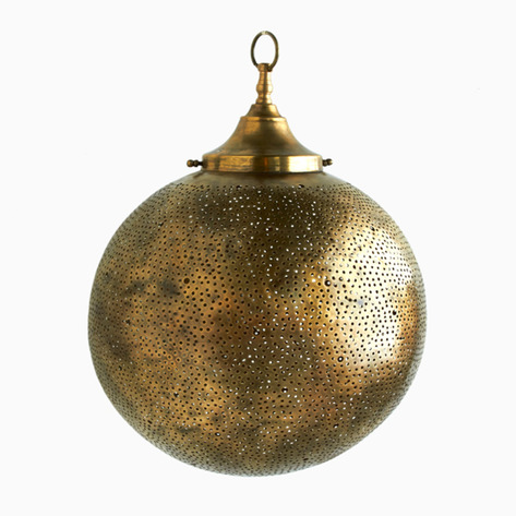 Bronze Globe Filigree Light Fixture