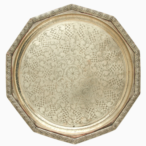 Damascus Rose Petal Silver Sinia Tea Tray