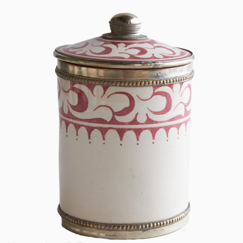 Atlas Red Moroccan Tadelakt Ceramic Canister