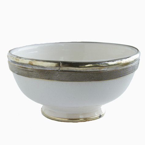 Ceramic Tadelkat Bowl with Embossed Silver
