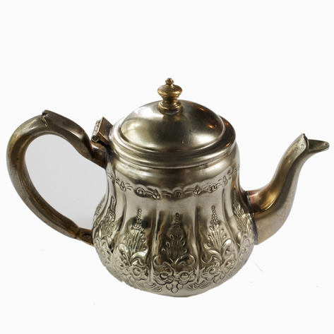 Silver Blooms Vintage Moroccan Teapot