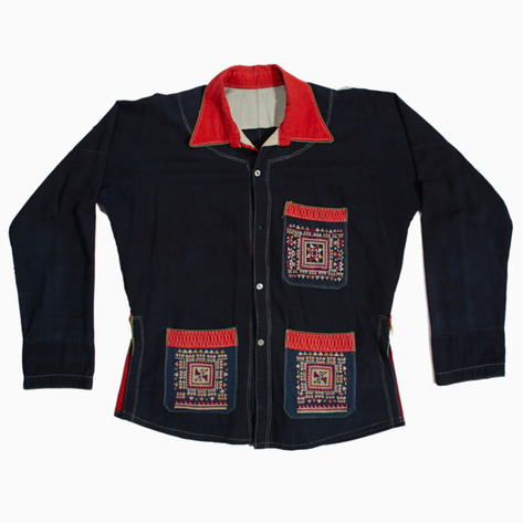 Indigo Embroidered Dao Button-up Shirt