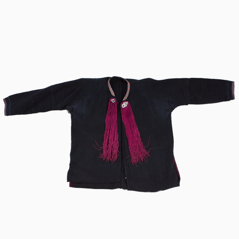 Black Dao Jacket with Magenta Tassels