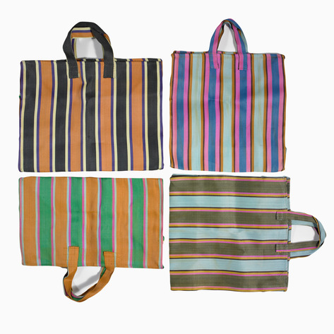 Striped Nylon Tote