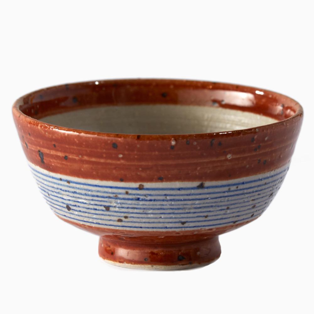 Modern Blue Earth Striped Bowl