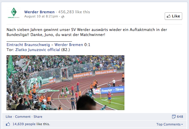 Social Media Bundesliga: Best Facebook Posts In Case Of Interaction Rate