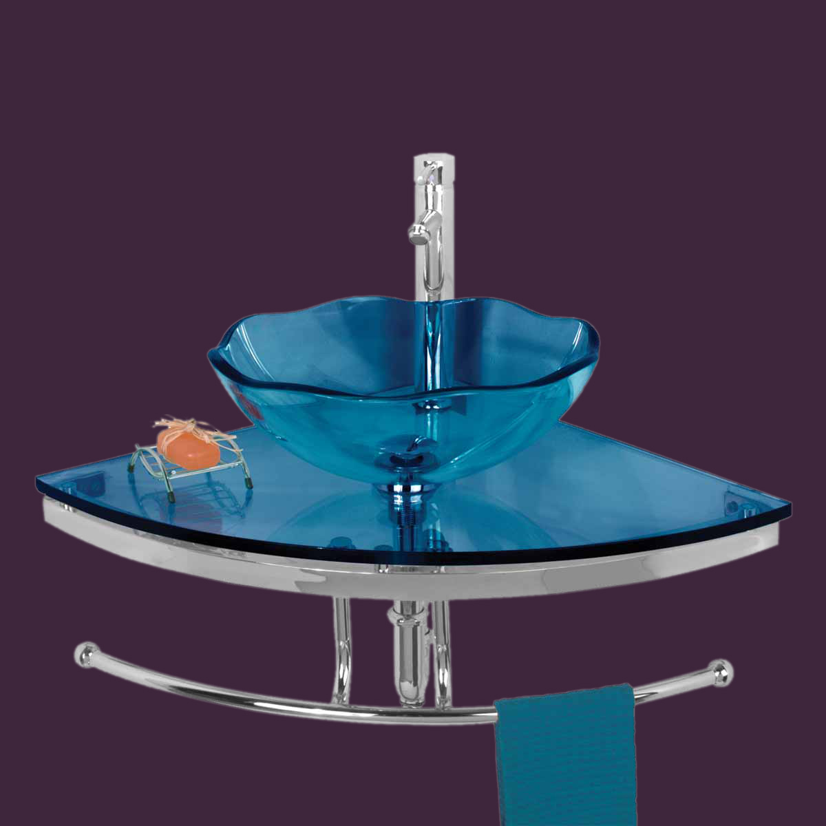Tempered Glass Vessel Sink : Unique Tempered Blue Glass Wall Mount Corner Vessel Sink