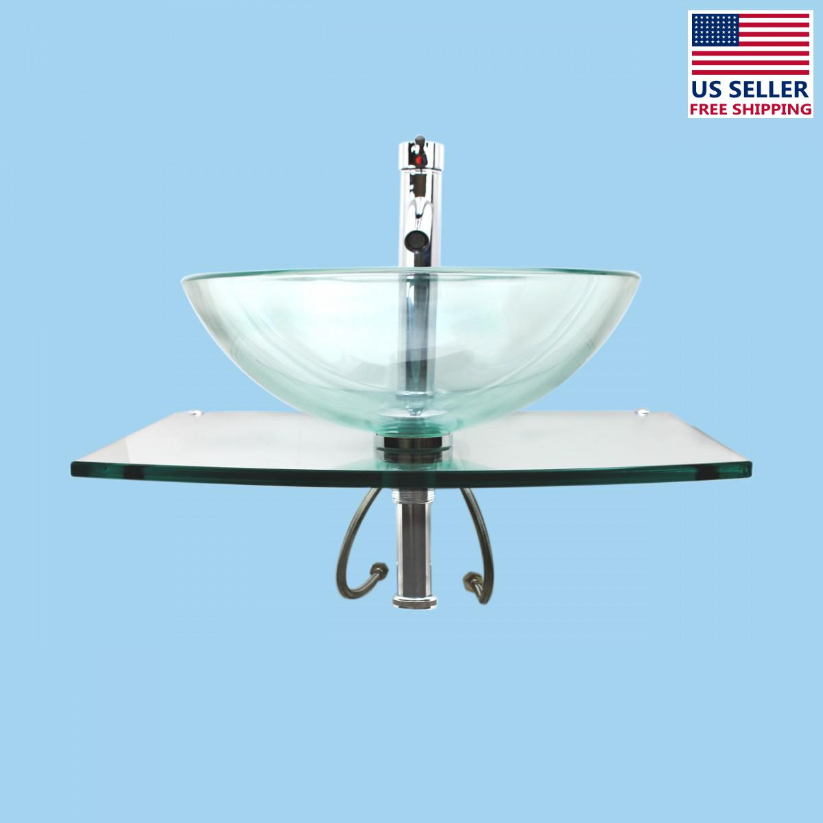 Unique Tempered Glass Wall Mount Vessel Sink Clear Durable Renovator ...
