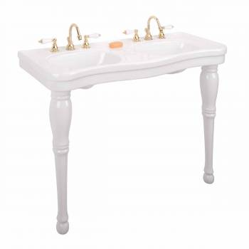 White Grade A Vitreous China Console Double Sink Spindle Leg