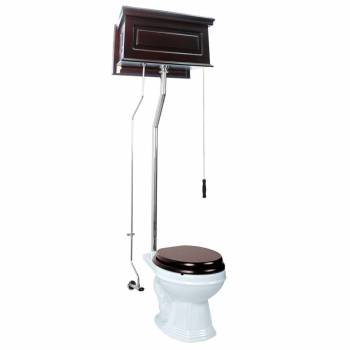 Dark Oak High Tank Pull Chain Toilet Raised Round Chrome