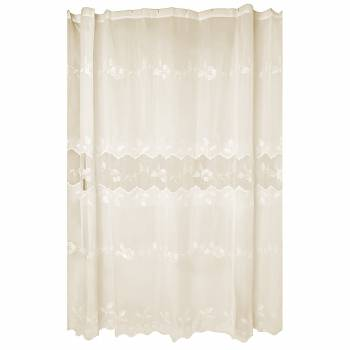 Lace Shower Curtain Victorian Ecru Embroidered 72 x 72