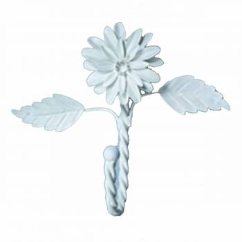 Flower Hook Wrought Iron White Zinnia