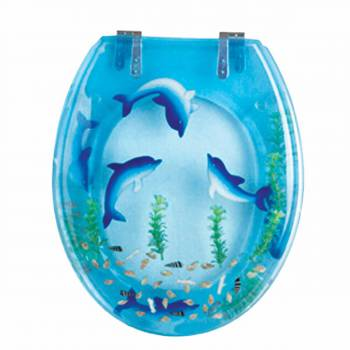Dolphins Swim Round Toilet Seat Chrome Hinges