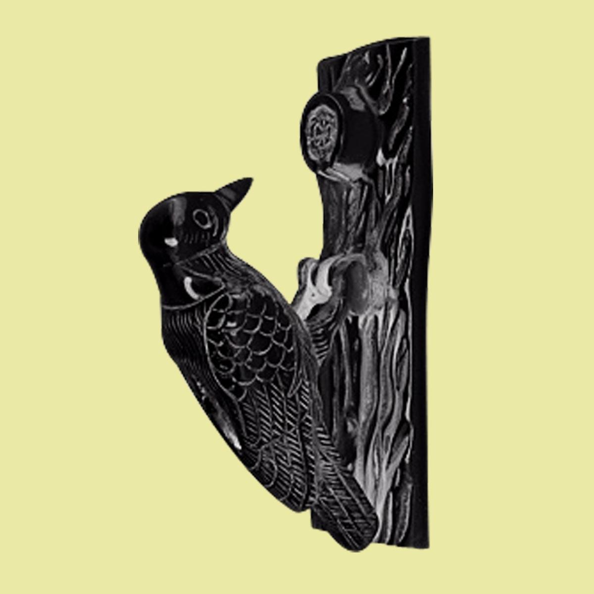 Door Knocker Black Cast Iron Woodpecker 6 1 2h 2 W