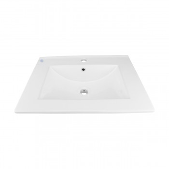 Bathroom Drop-in Sink Square Self-Rimming White China