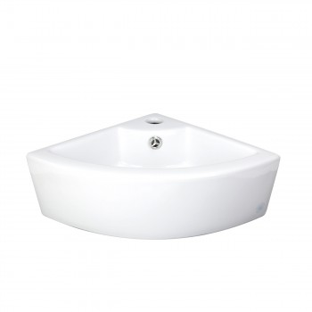 Small Corner Above Counter Vessel Sink White China