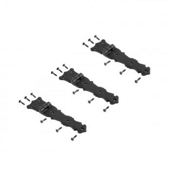 3 Strap Hinges Black Wrought Iron Fleur de Lis Set of 3