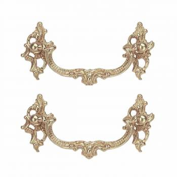 2 Bright Solid Brass Ornate Bail Pull