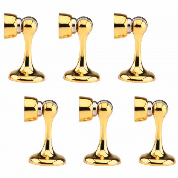 6 Magnetic Door Stop Safety Catch Bright Gold Zinc Alloy