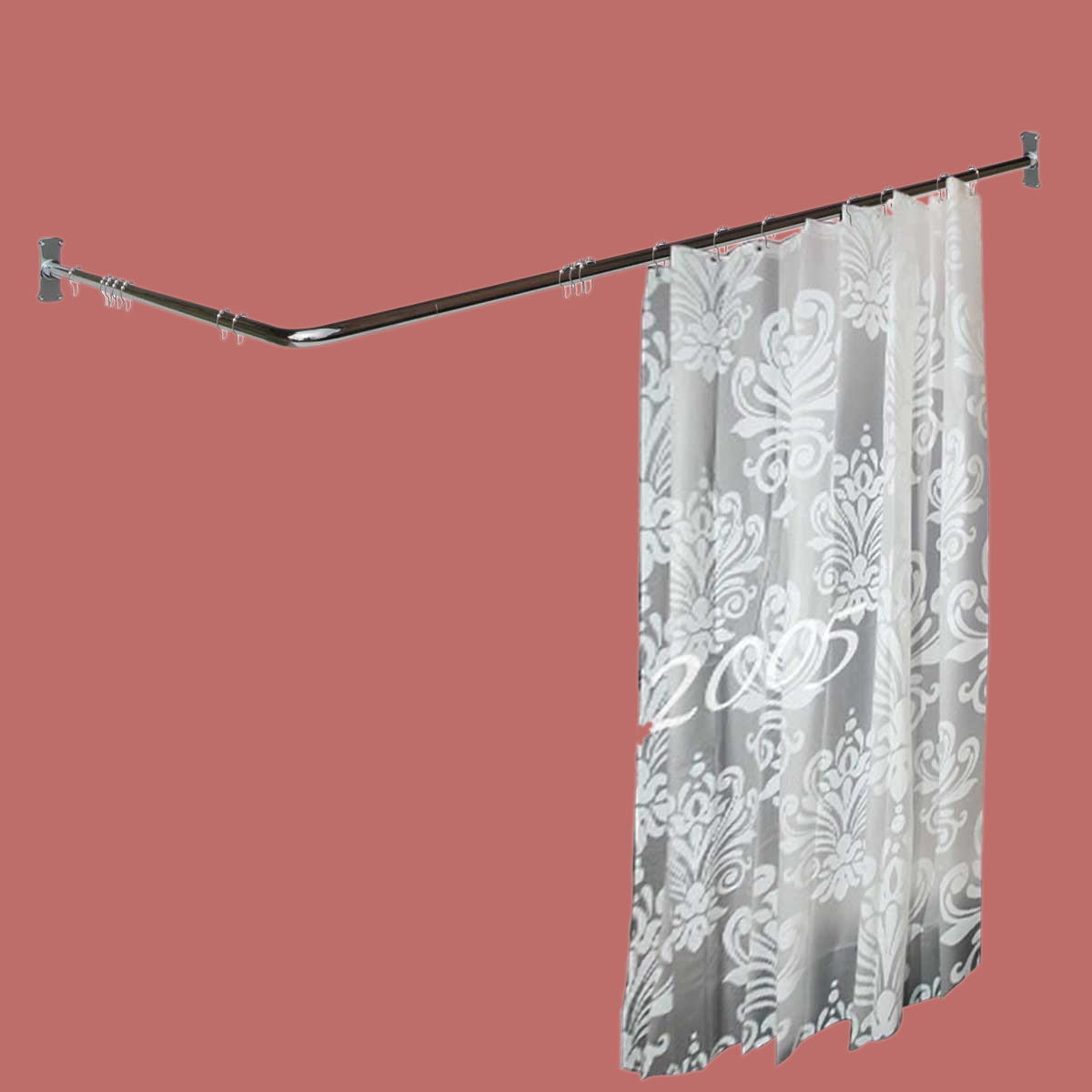 Two Sided Shower Curtain Rod Chrome Plated Brass 7 8 Dia