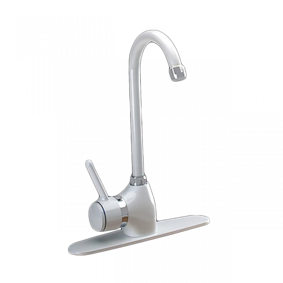 kitchen faucet gooseneck white classic single 1
