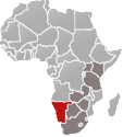 Map of Africa with Namibia marked in red