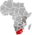 Map of Africa with South Africa marked in red