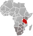 Map of Africa with Tanzania marked in red